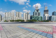 Square front of modern office buildings in Shanghai Royalty Free Stock Photography