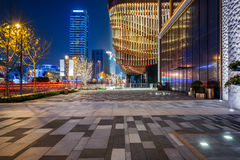 Square front of modern office buildings in Shanghai Stock Photos
