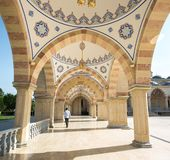 Square in front of the Mosque `Heart of Chechnya`. stock photo