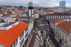 Square in front of Municipal city hall. View from the balcony Municipal city hall on the square, Ponta Delgada, Sao Miguel, Azores,Portugal Stock Photos
