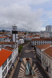 Square in front of Municipal city hall. View from the balcony Municipal city hall on the square, Ponta Delgada, Sao Miguel, Azores,Portugal Royalty Free Stock Photo