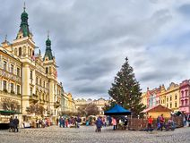 The square in front of the old town hall in the center of Pardubice (Czech Republic) with a Christmas tree dressed up Stock Photos