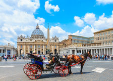 Square in front of Papal Basilica of St. Peter in the Vatican Royalty Free Stock Photography