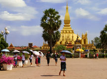 Square in front of Pha That Luang temple complex Royalty Free Stock Photography