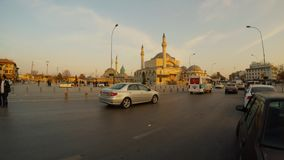 Square in front of Selimiye Mosque, Mevlana Museum in the evening in the center of the city. KONYA / TURKEY - 11.20.2016 central streets of the ancient Turkish stock video footage