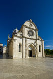 Square in front of the St.James cathedral. In Sibenik, listed in the UNESCO world heritage, built in medival entirely of stone and marble stock photo