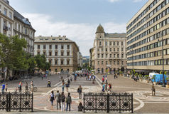 Square in front of St. Stephen Basilica. Budapest, Hungary. Royalty Free Stock Images