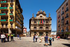 Square in front of the townhall in Pamplona, Spain Stock Images