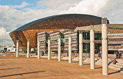 The square in front of Wales Millenium Centre. One of the world's iconic arts and cultural destinations Stock Photos