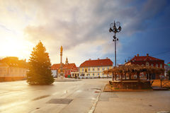Square in front of the Zagreb cathedral. Royalty Free Stock Images