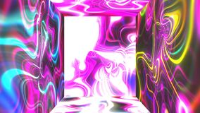 Square futuristic room with abstract glow energy visual illusion on walls, 3d rendering computer generating backdrop stock video footage