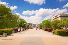 Square in Gdynia in sunny day, Poland Royalty Free Stock Images