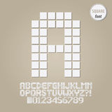 Square Geometric Alphabet and Digit Vector Royalty Free Stock Images