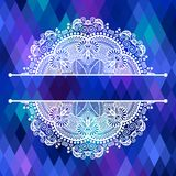 Square geometric composition with ethnic flower Stock Photography