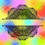 Square geometric composition with ethnic flower Stock Photo