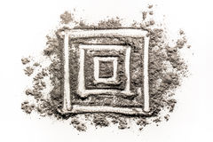 Square geometry shape drawing in dirt Royalty Free Stock Image
