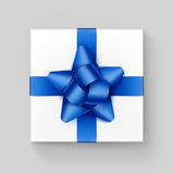 Square Gift Box with Blue Ribbon Bow on Background Royalty Free Stock Images