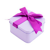 Square gift box with a bow Royalty Free Stock Photo