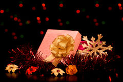 Square Gift Box Christmas. With ornaments Royalty Free Stock Photos