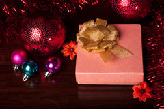 Square Gift Box Christmas. With ornaments Royalty Free Stock Images