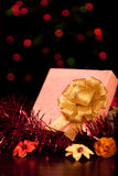 Square Gift Box Christmas. With ornaments Stock Photography