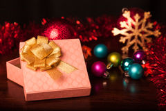 Square Gift Box Christmas. With ornaments Stock Photo