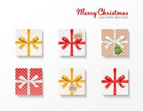 Square gift box set. Gold, red, silver color bow knot, ribbons, kraft ball and tree hang tags. Snowflake pattern, old vector illustration