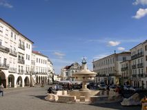 Square of the Giraldo IV. Square of the Giraldo, in Évora, with church of S. Antão to the deep one royalty free stock images