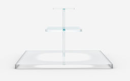 Square of glass in three tiers stand. Three tiers of square glass stand by 3D rendering Royalty Free Stock Photography
