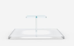 Square of glass tiers stand. Two tiers of square glass stand by 3D rendering Stock Photo