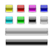 Square glossy buttons. In colour Stock Images