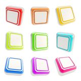 Square glossy buttons isolated on white Royalty Free Stock Image