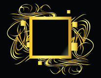 Square gold black element. Gold and black design frame on a black background Royalty Free Stock Photography