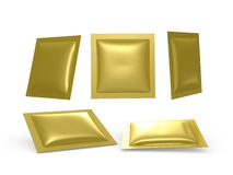 Square Gold foil heat sealed packet with clipping path Stock Photography