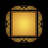 Square gold frame on black background for cards, invitations, po Stock Photos