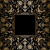 Square gold frame on black Stock Photos