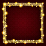 Square gold frame with lights on a dark background. Vector illustration Stock Photos