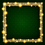 Square gold frame with lights on a dark background. Vector illustration Stock Photography