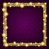 Square gold frame with lights on a dark background. Vector illustration Stock Photo