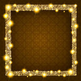 Square gold frame with lights on a dark background. Vector illustration Stock Images