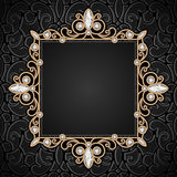 Square gold frame Royalty Free Stock Images