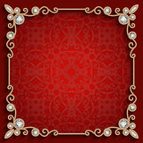 Square gold jewelry frame on red background Stock Images