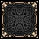 Square gold jewelry frame Royalty Free Stock Photos