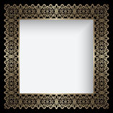 Square gold lace frame Royalty Free Stock Photos