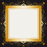 Square gold retro frame Stock Images