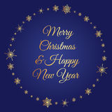 Square gold snowflakes circle. Vector deep blue square background with frame of elegant golden snowflakes and script type text: Merry Christmas & Happy New Year Royalty Free Stock Photo