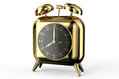 Square golden alarm clock Royalty Free Stock Image