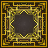 Square golden and black retro frame, art deco style of 1920s. Removable grunge effect applied Stock Photos