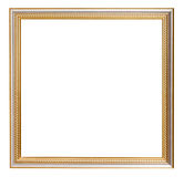 Square golden carved wooden picture frame Royalty Free Stock Image