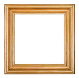 Square golden lacquered wooden picture frame stock images